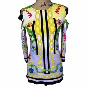 NWT Eva Varro Cold Shoulder Colorful Tunic Size Sm
